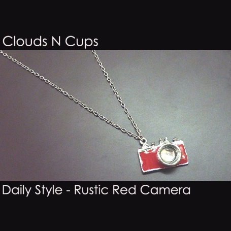 CNC-LN009 - A RUSTIC RED CAMERA LONG NECKLACE