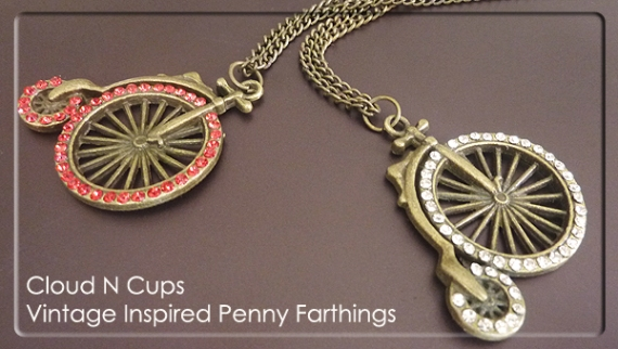 CNC-LN013 - VINTAGE INSPIRED PENNY FARTHING LONG NECKLACE