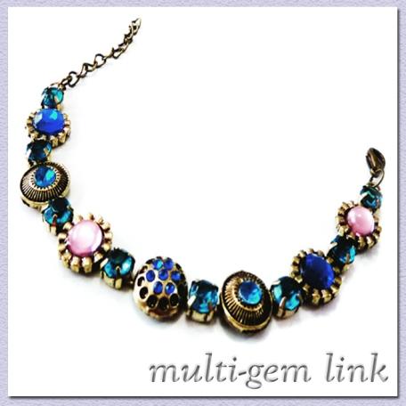Multi-Gem Link Bracelet